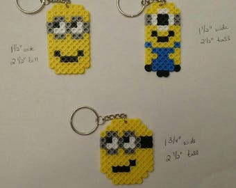 Minions party favor pack - Set of 3 keychains or zipper pulls