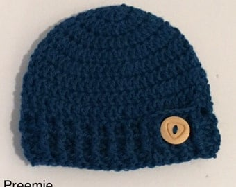 Handmade Crochet Beanie / Blue.Aqua.Turquoise Pure Wool / Preemie / 0-3 months / Baby Boy / Present / Baby Shower Gift