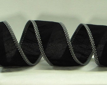 Wired  Dupioni Ribbon ~ 2.5 inch  Black Dupioni Ribbon Black & White Checked Wired Edges ~ Great for Wreaths, Bows or Home Decor ~ 3 Yards