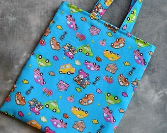 Kids turquoise, blue fabric tote bag.