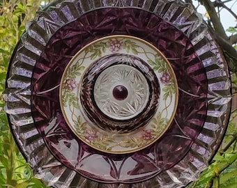 Glass Flower Garden Art, Glass Plate Flower, Yard Art Decoration, Unique Gift, Home Decor, Garden Gift, Patio, Porch, Lin Moon Designs