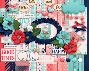 Love This Life- Digital Scrapbooking Kit - 17 Papers - 60 Plus Elements - Paper Size - 12 x 12 Inches