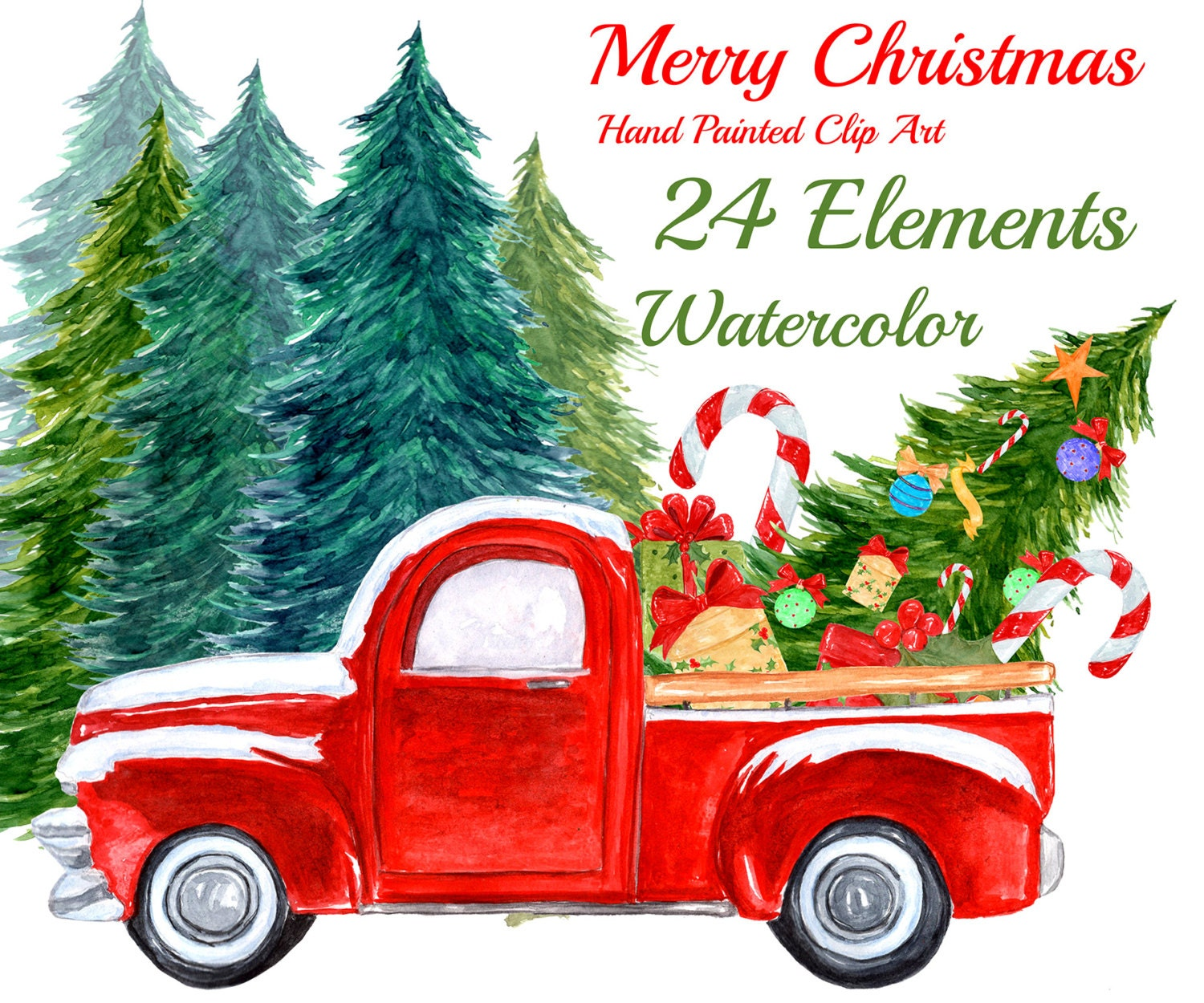 Watercolor Christmas Clipart: CHRISTMAS TRUCK