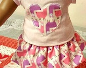 CUSTOM ORDER for mrsmagnoliabelle   Three Piece Set Pink Knit Top Llama Love  Skirt Patterned Leggings fits American Girl