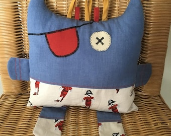 Cuddle Monster Pillow, Soft Toy, Baby Gift, Baby Shower Gift, Childs Toy, Bedtime Toy, Handmade Baby Gifts, Baby Pillow, Pirate Pillow