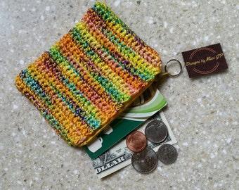 Yellow Orange Multicolor Coin Purse  - credit card holder