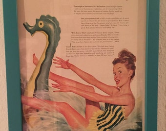 VERY RARE Vintage 1940s 1950s Pin Up Girl Mermaid Art Print Poster 11x14 Card Antique Collectible