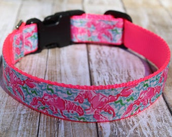Lobster Dog Collar - Beach Dog Collar - Nautical Dog Collar - Preppy Dog Collar - Lobster Dog Leash - Personalized Dog Collar