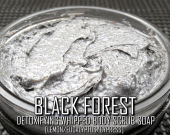 Black Forest Body Scrub Soap | Pure Hand-Whipped 3 oz. Dead Sea Salt/Activated Charcoal Exfoliating Body Wash w/ Lemon/Cypress/Eucalyptus