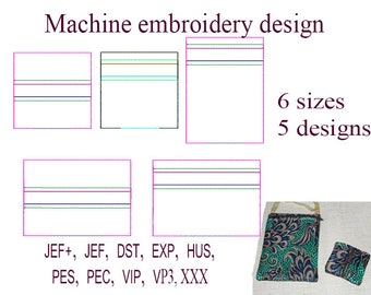 Machine embroidery designs zippered bag. Blank zip bag embroidery designs.   ITH zippered bag Embroidery Design. File Instant Download.