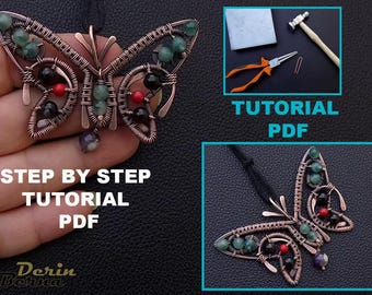 Pendant wire wrapped tutorial,pendant tutorial,wire wrapping tutorial,Butterfly necklace Pendant tutorial,jewelry tutorial,beading tutorial