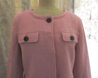 lovely pink cotton jacket with black accents, Jackie O look, classy , classic, dress for success, high quality, Talbots, excellent condition