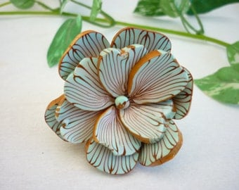Flower ring , light blue and gilded lines, polymer clay handmade