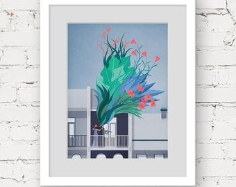 violin art print, modern botanical print, music art, music illustration print, music lover gift, green blue art, violinist art print, garden