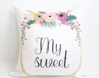 Nursery Pillow, Kids Pillow, Sweet, Throw Pillow, Accent Pillow, Baby Girl Gift, Girl Nursery, Gift