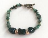 Green Stone Bracelet, Emerald Bracelet, green bracelet, green bead bracelet, Green Jasper Gemstone Jewelry, Emerald March Birthstone