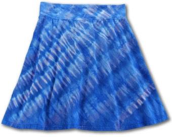 Tie Dye • Large • Knee Length Roll Waist Skirt • Diagonal Blues • 100% Cotton • 2Dye4