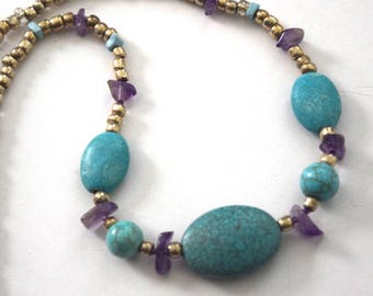 Semi Precious Turquoise and amethyst necklace