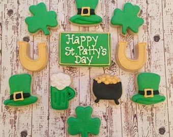St Patty's Day Sugar Cookies/ Decorated Sugar Cookies/ Shamrock Sugar Cookies/Sugar Cookies/ St. Patricks Day Sugar Cookies