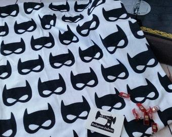 Cotton Lycra - Bat Mask Knit Fabric - Stretch Knit Fabric - 4 Way Stretch Fabric - Superhero Fabric - Bat Fabric - Batman - Monochrome