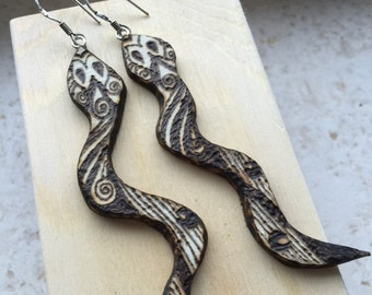 Wooden earrings handmade and decorated with painting booth