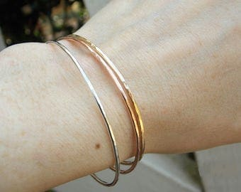 Stacking bangle, dainty bracelet, thin gold bracelet, thin hammered cuff, 14kt gold fill, rose gold fill, sterling silver, minimal
