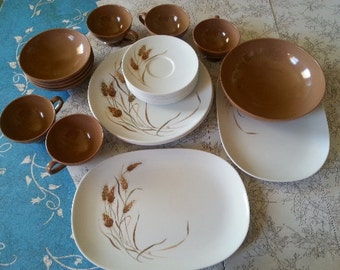 Texas Ware Dish set Wheat Pattern Vintage Melamine Dishes 20 piece set