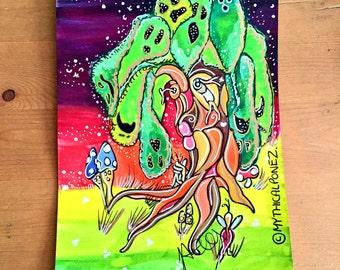 Tree of Souls A5 watercolour ink painting fantasy original art fairytale fairies toadstools wonderland bizarre surreal ghost illustration