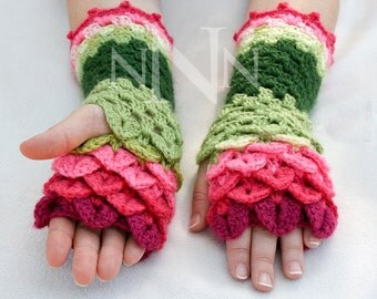 Dragon Scale Fingerless Gloves - Crochet Fingerless Gloves - Fingerless Dragon Scale Gloves - Hobo Ladies Gloves - Womens Fingerless Gloves