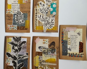 5 Collaged Notecard set