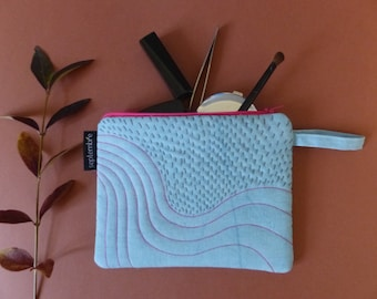 "Clutch blue and pink, embroidered pouch ""Sashiko"", blue makeup case, jewelry pouch, embroidered, padded pouch"