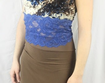 Argentine tango top, sequined top, blue print top