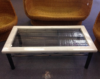 Marble look Coffee Table with glass centre