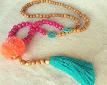 Turquoise and pink tassel necklace, Pom pom wood  tassel necklace, long wood bead tassel, statement necklace, bright necklace