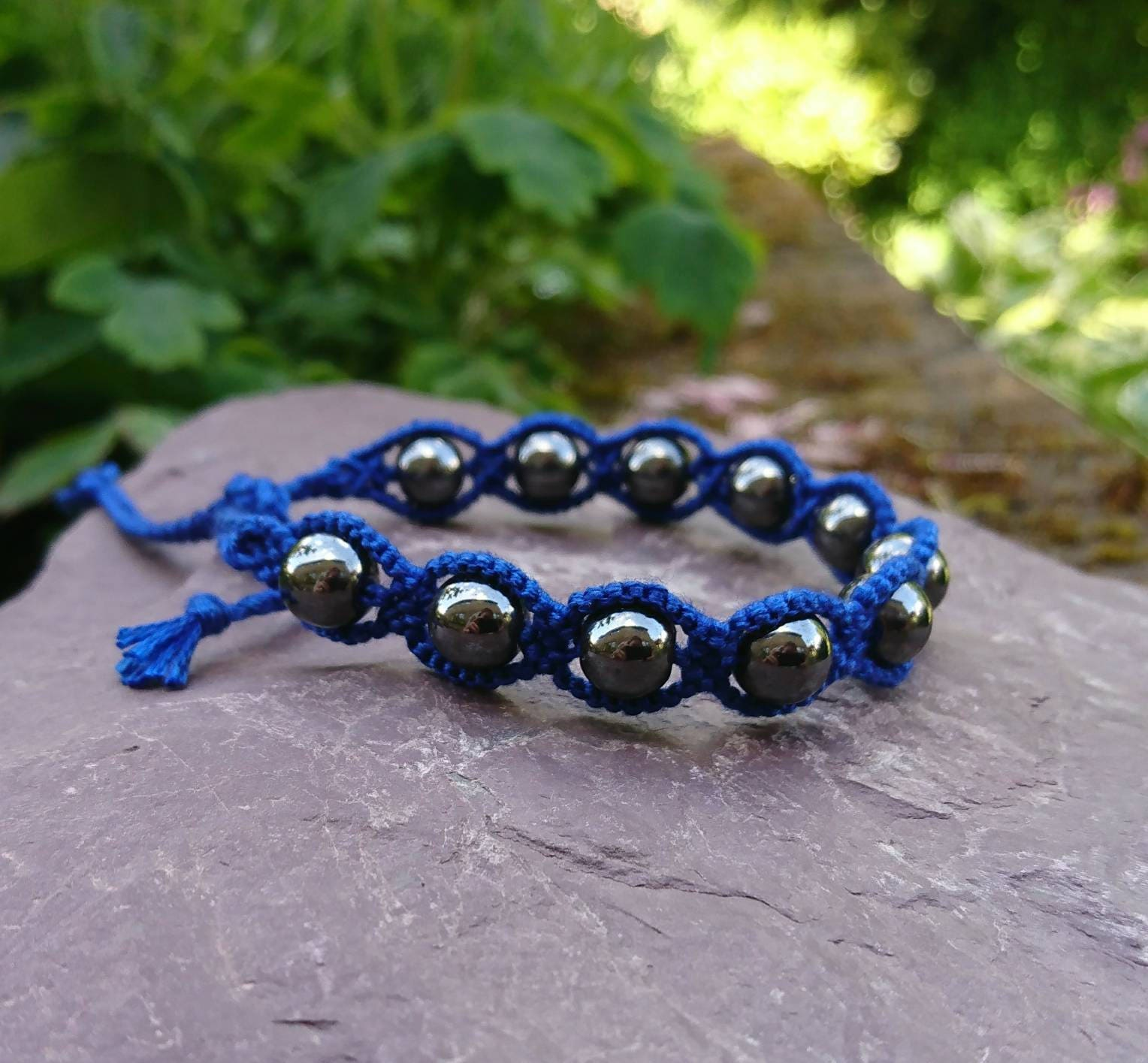 blue men cotton mens bracelet crystal il anklet dark s fullxfull inch p hematite