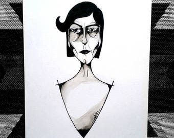 Unique design illustration black and white watercolor by kunsst A4