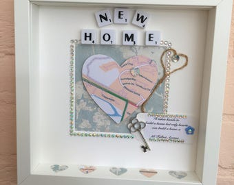 Personalised House Warming Gift, Personalised New Home Gift, New Home Frame, Our First Home Gift, New Home Map Frame, Map and Key Frame