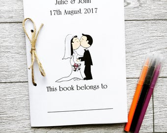 Personalised childrens wedding activity colouing book, wedding activity pack, kids table decor, colouring pack