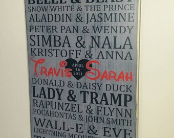 12 x 20 Disney Prince and Princess personalized with your names wood sign