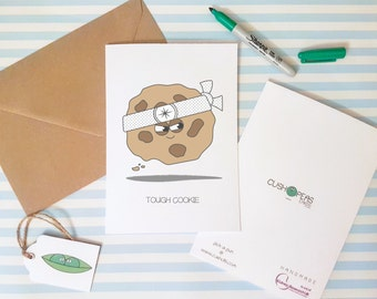 Quirky Sympathy Card - Puns - Tough Cookie - Alternative Thinking of You Card - With Sympathies - Alternative Get Well Card - Charity Card