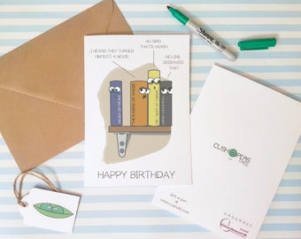Book Humour - Funny Birthday Card - Book Lovers - BookWorm - Quirky Happy Birthday - Birthday Humour - Cards for Readers - Charity Card