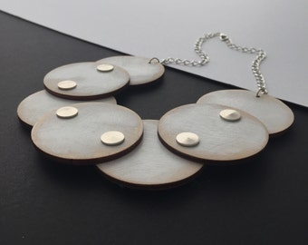 Wooden necklace, Large round statement necklace, Unique necklace, Wooden jewellery, Statement necklace