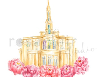 LDS Payson Utah Temple Watercolor Print Wedding Home Decor Gift Floral Peony Painting Art Baptism Birthday Custom Personalize Christmas