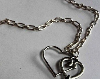 Silver Heart and Key on chain link