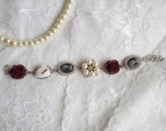 Bridesmaid bracelet,  Victorian bracelet, black wine bracelet, Victorian wedding, steampunk bracelet, Marie Antoinette, Bridesmaids OOAK