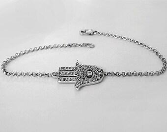 hamsa hand bracelet, hamsa hand, silver hamsa bracelet, hamsa Bracelet, hamsa Jewelry, hamsa charm, luck bracelet, dainty bracelet