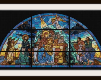 Spiritual Stained Glass Cross Stitch Pattern - Religious Cross Stitch - Stained Glass Cross Stitch