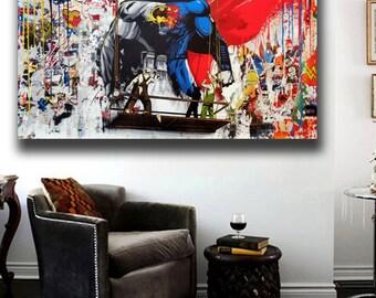 Mr. Brainwash Batman vs. Superman 36 x 24 Canvas Print Giclee