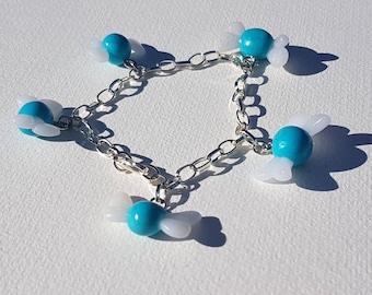 Wristband with charms blue fairy navi link zelda