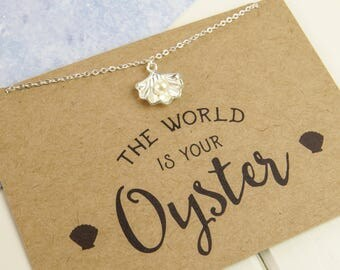 The World is Your Oyster - Pearl Charm Necklace - Good Luck Gift - Inspirational Quote - Travel Gift - Leaving Gift - Travelling Jewellery